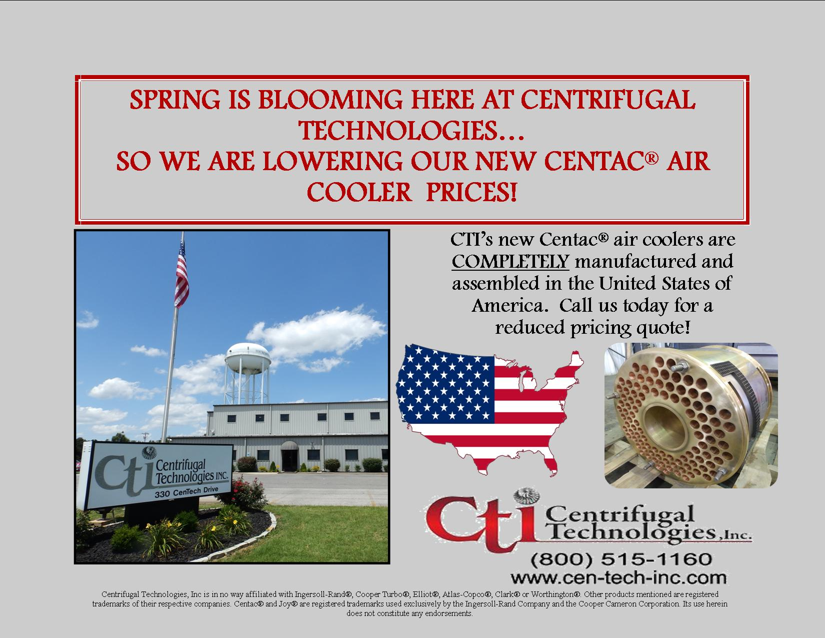 Spring is Blooming Here at CTI & We are Lowering our New Centac® Air Cooler Prices